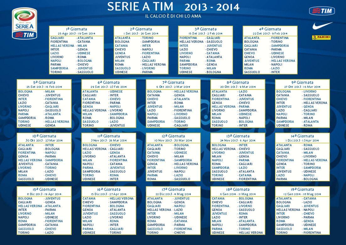 Calendario Seria A Tim.Calendario Serie A Tim Inter Club Opitergium Oderzo Tv